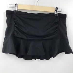 Athleta Shirred Ruffle Swim Skirt Black Medium